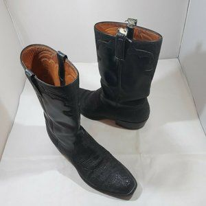 Lucchese Men's Size 10D Black Leather Cowboy Boots